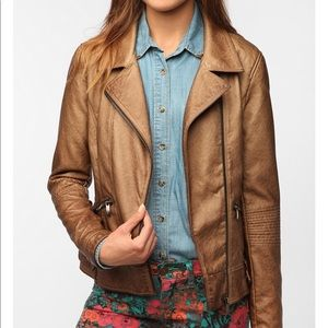 Sparkle and Fade Faux Leather Brown Moto Jacket
